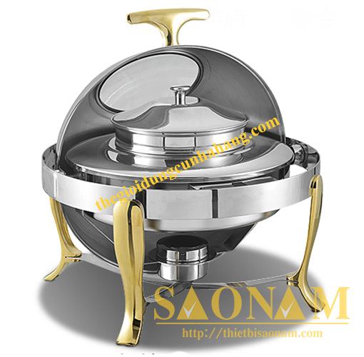 Nồi Hâm Cháo – Soup Nắp Kính Chân Vàng SN#520905