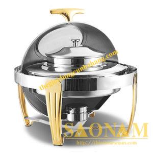 Nồi Hâm Cháo – Soup Tròn Nắp Kiếng Chân Sọc Vàng SN#520912